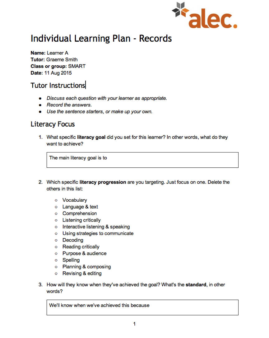 Learning Plan Template