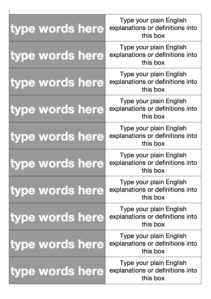 TEACH: Literacy resources – Word and definition matching cards ...